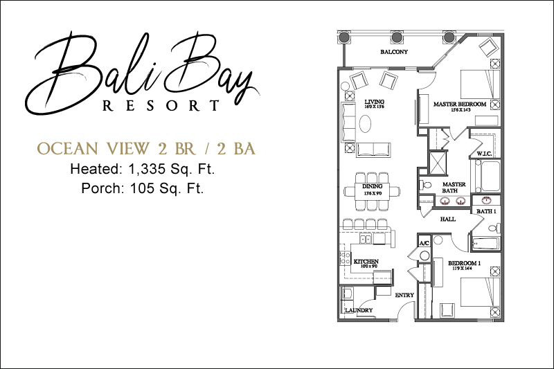 2 Bedroom Ocean View Floorplan