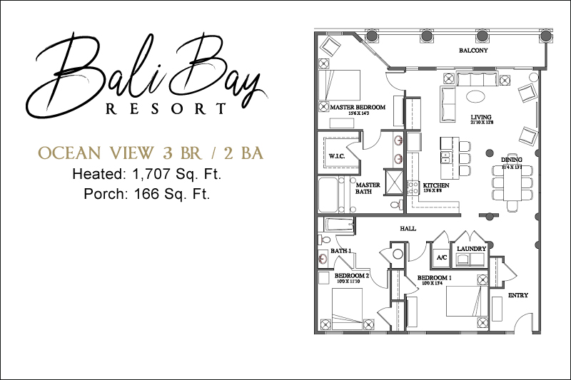 3 Bedroom Ocean View  Floorplan