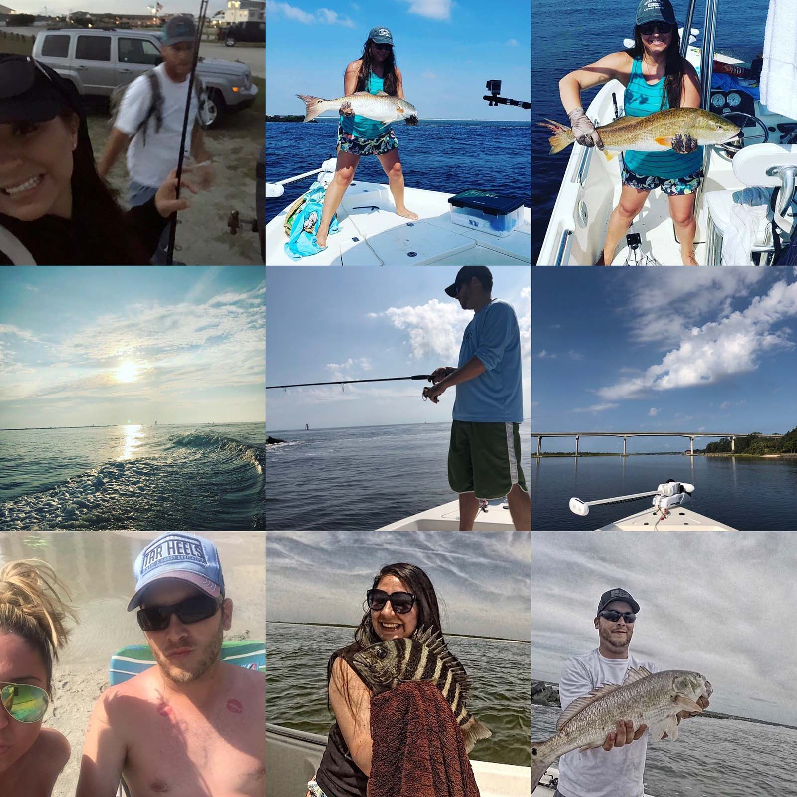 collage of a group going fishing in the ocean
