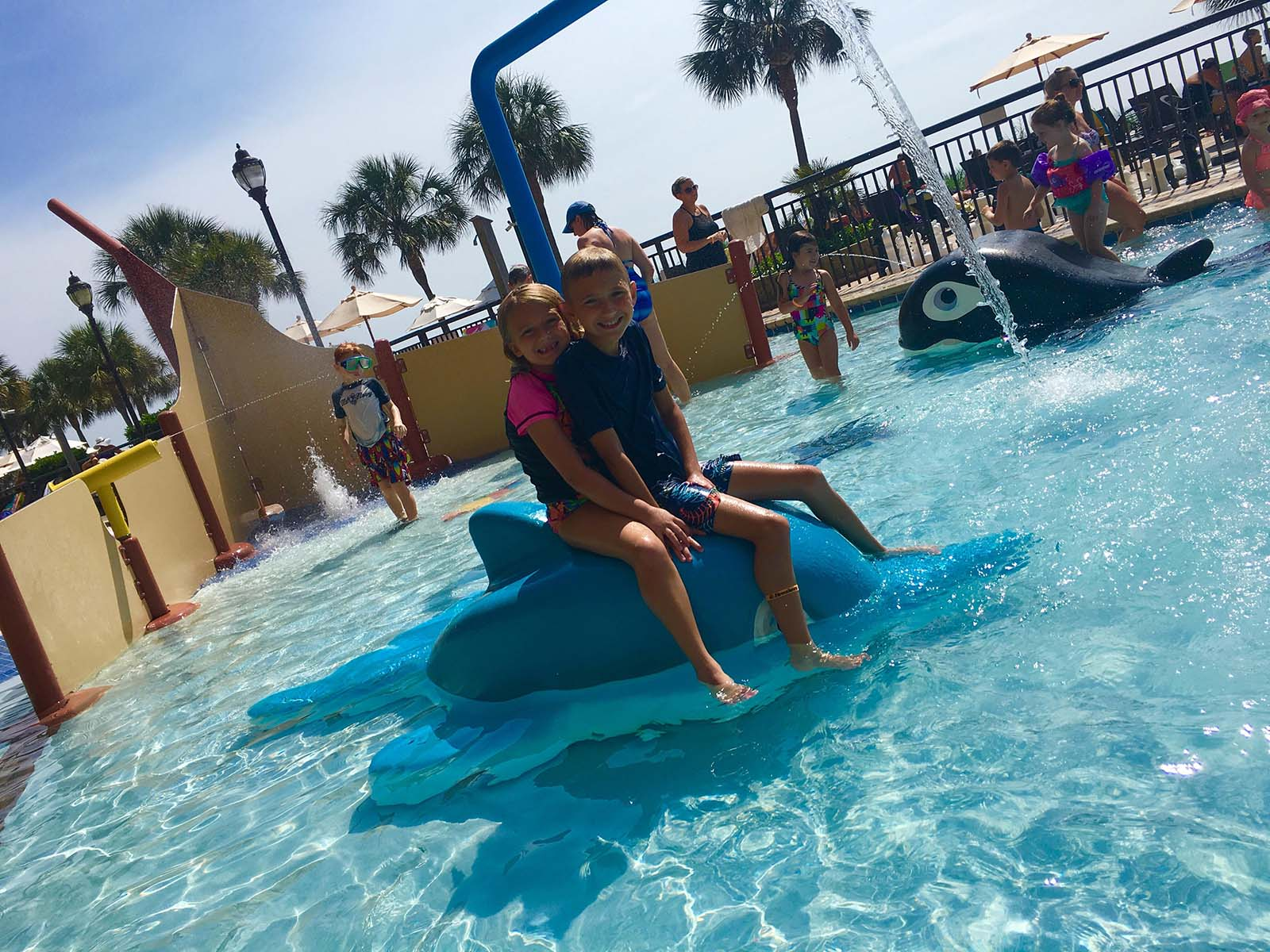 little boy and girl sitting on the dolphin in kiddie pool