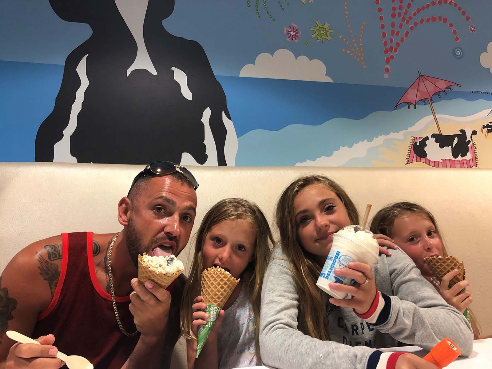 a family eating ice cream at Ben & Jerry