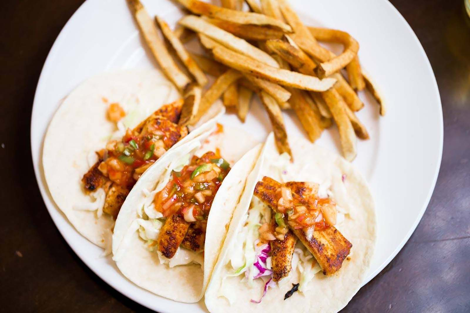 Soft tacos with with fries