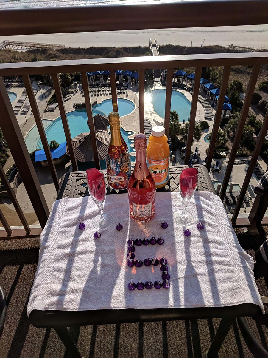 Drinks on table on balcony with chocolate 5