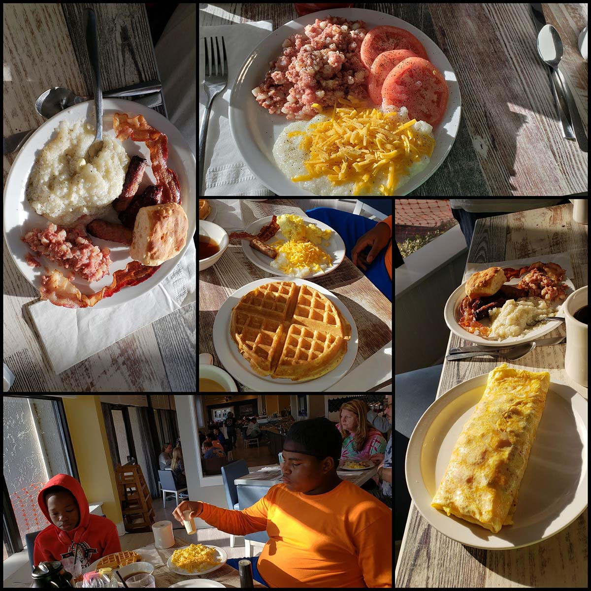 A collage of different breakfast dishes
