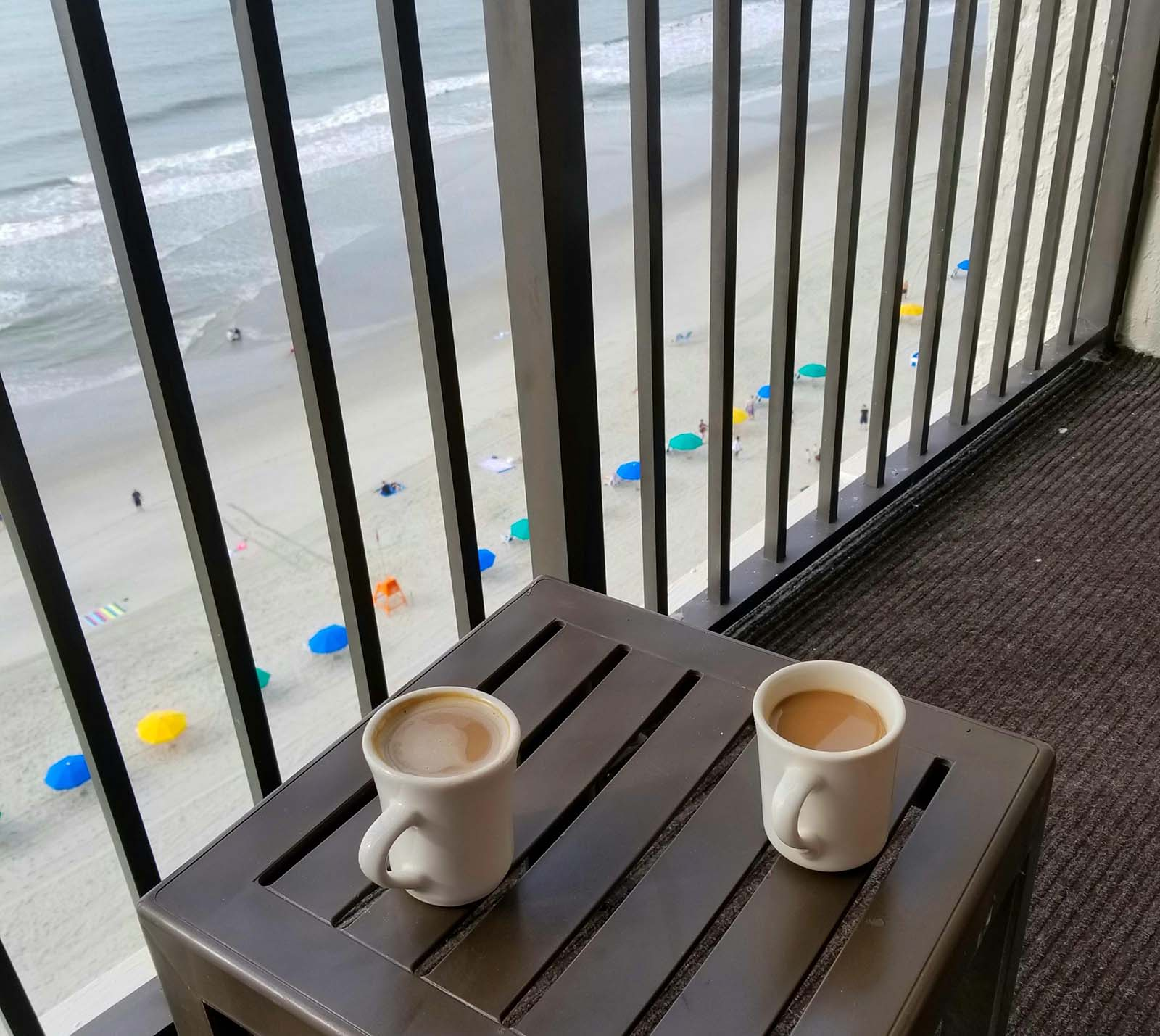 coffee on the balcony looking at the beach