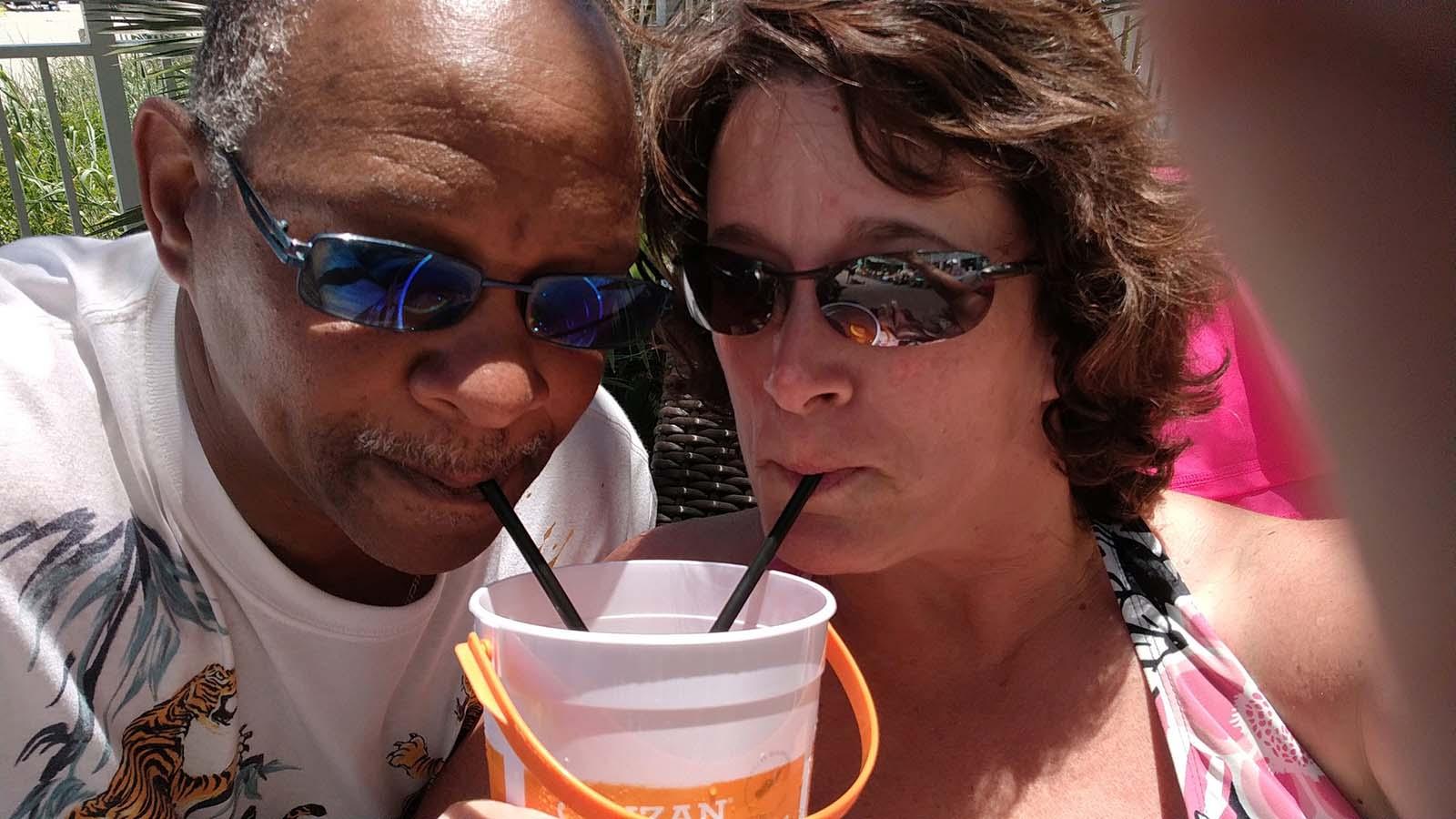 couple drinking voodoo bucket