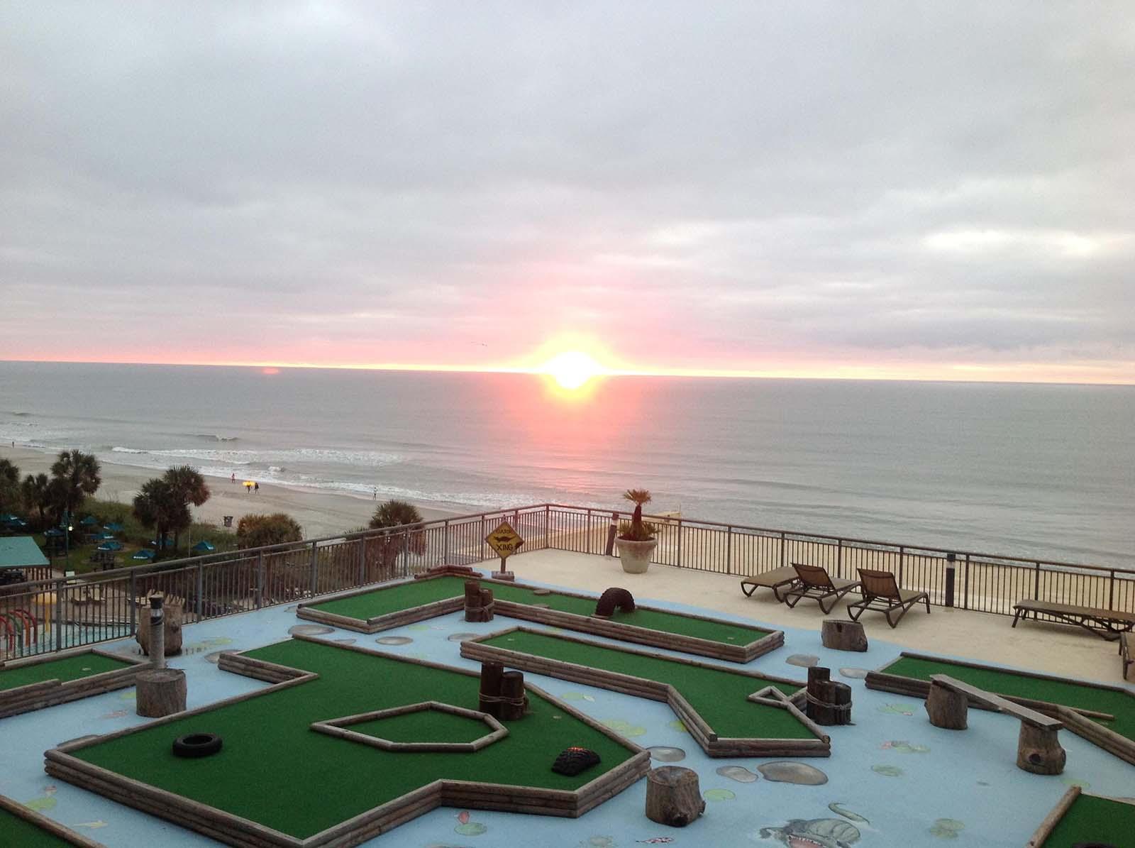 Sunrise view of mini putt putt course