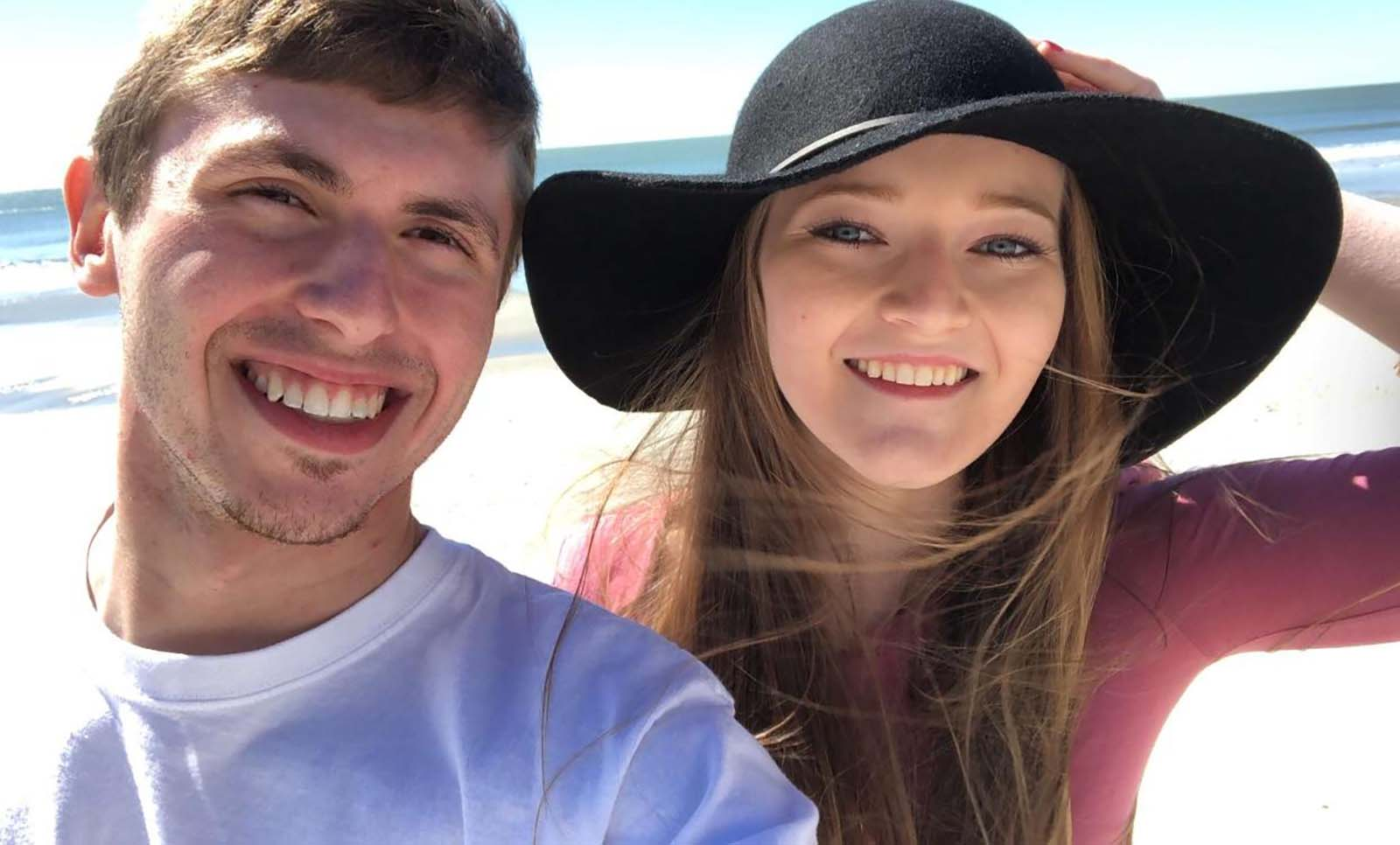 Young couple selfie on beach