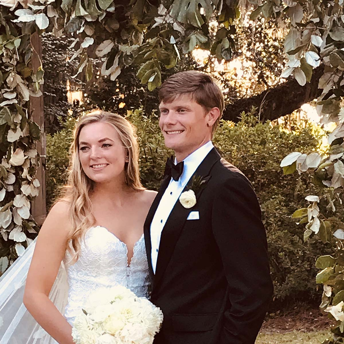Couple smiling together after getting married
