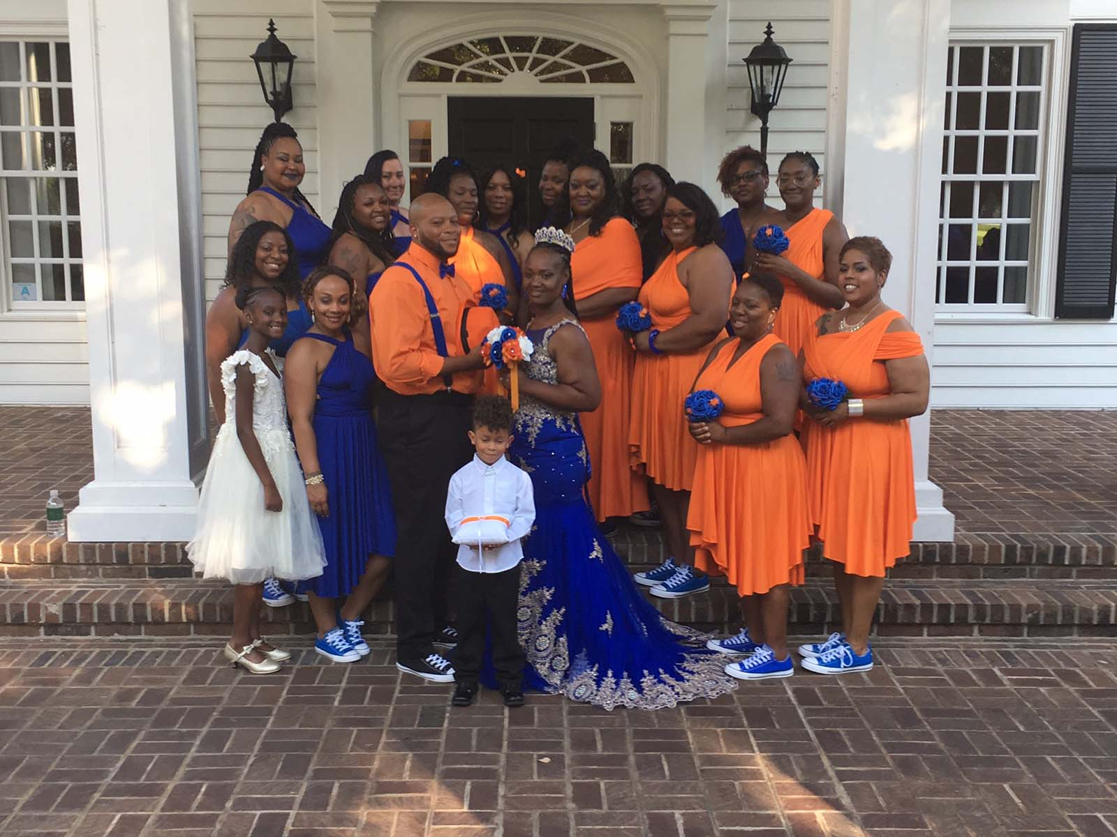 Wedding party in orange and blue colors