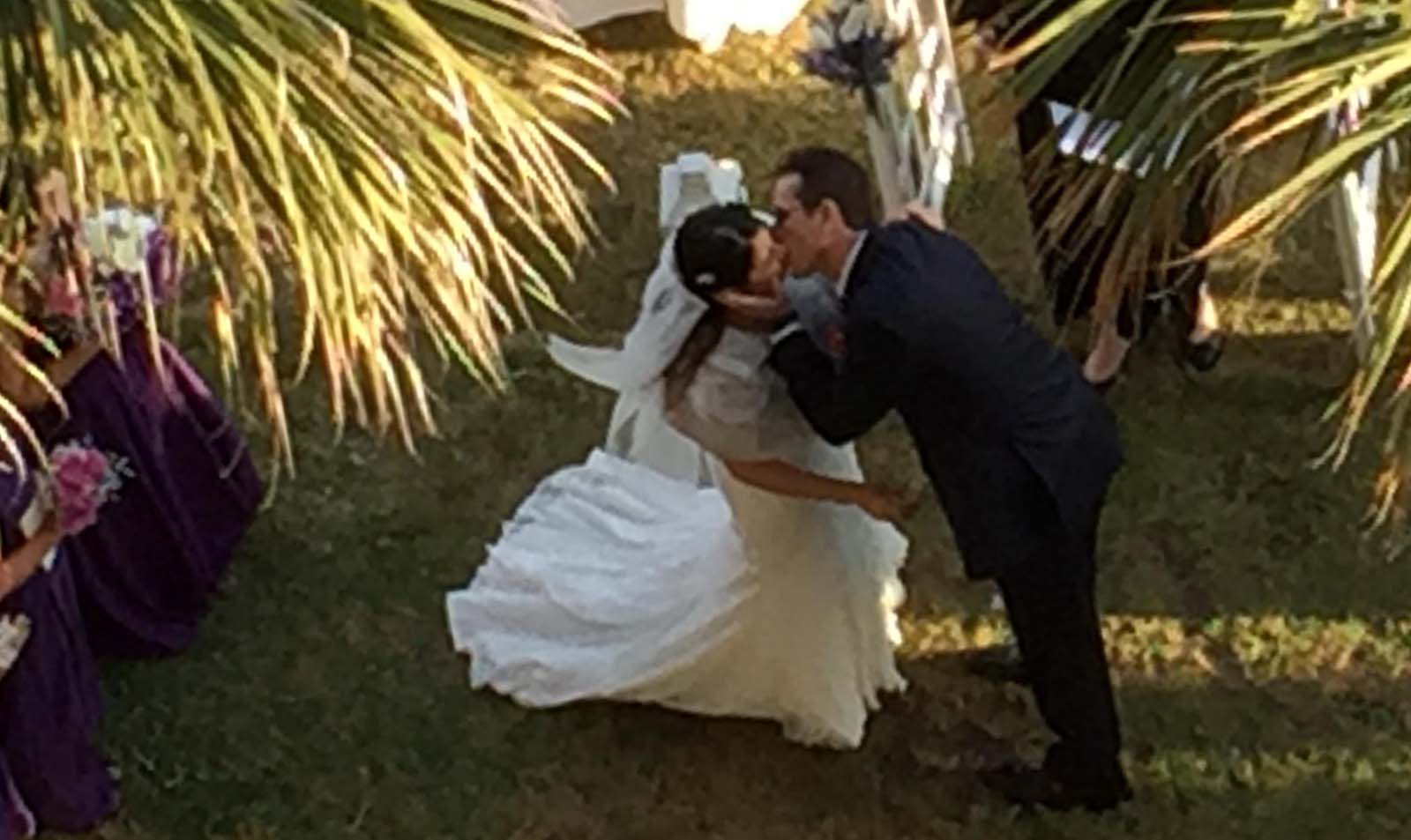 Couple getting married on lawn