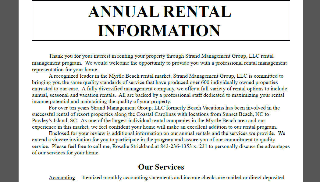 Annual Rental Information