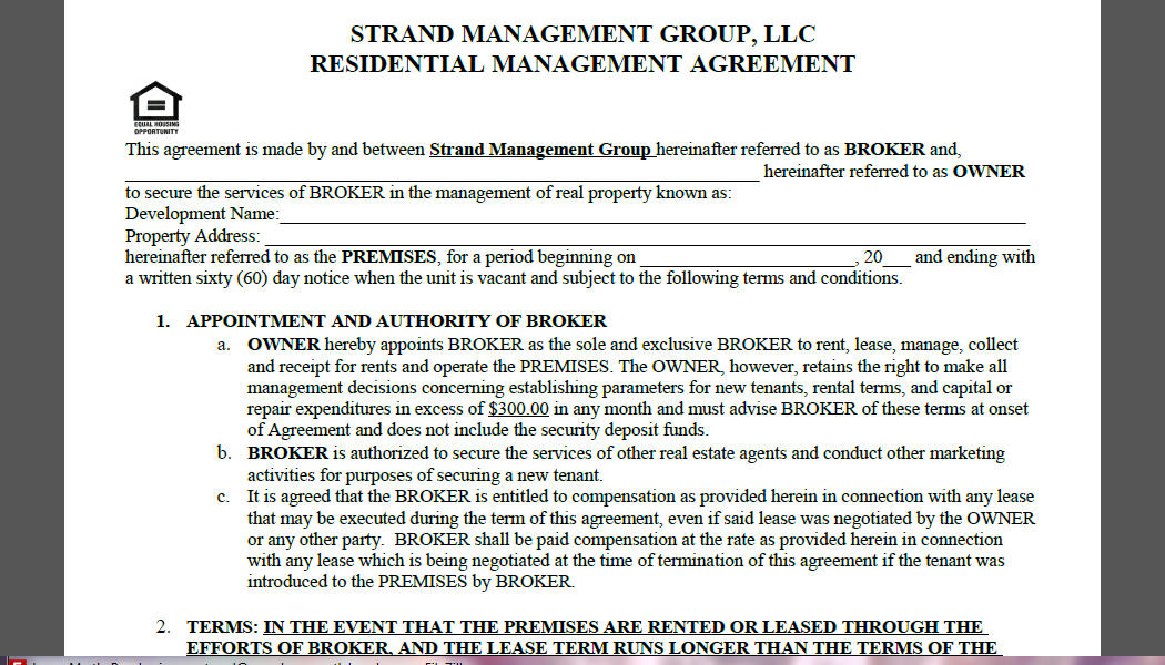 Rental Management Agreement