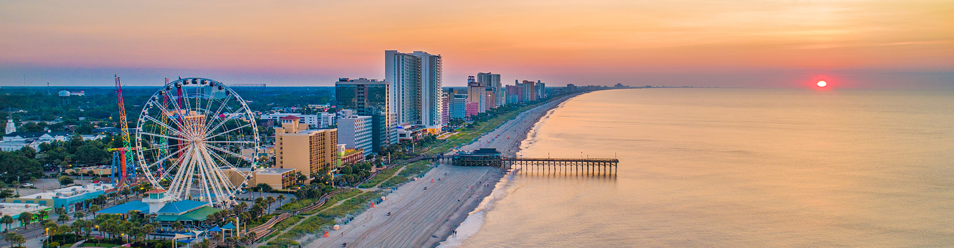 Myrtle Beach SkyWheel shoreline aerial
