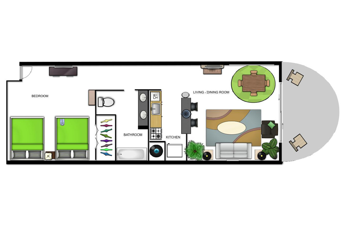 Oceanfront Suite (2 Doubles) Floorplan