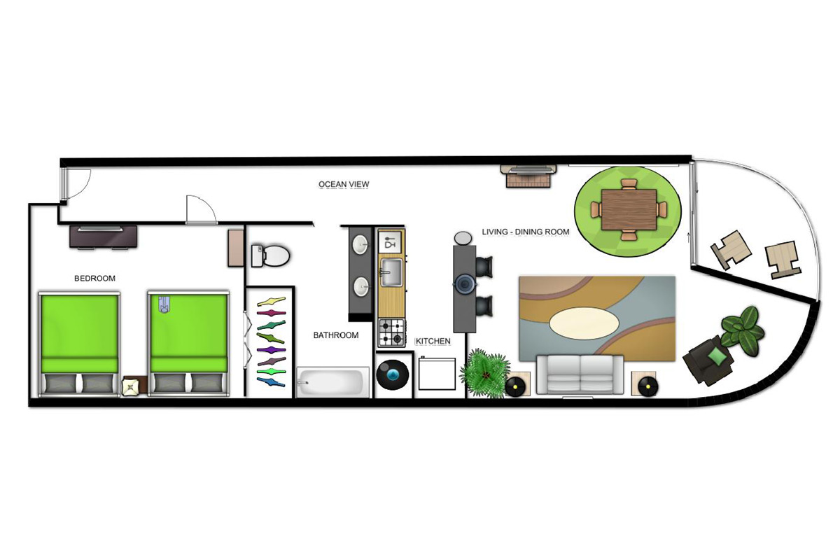 Ocean View Suite (2 Doubles) Floorplan